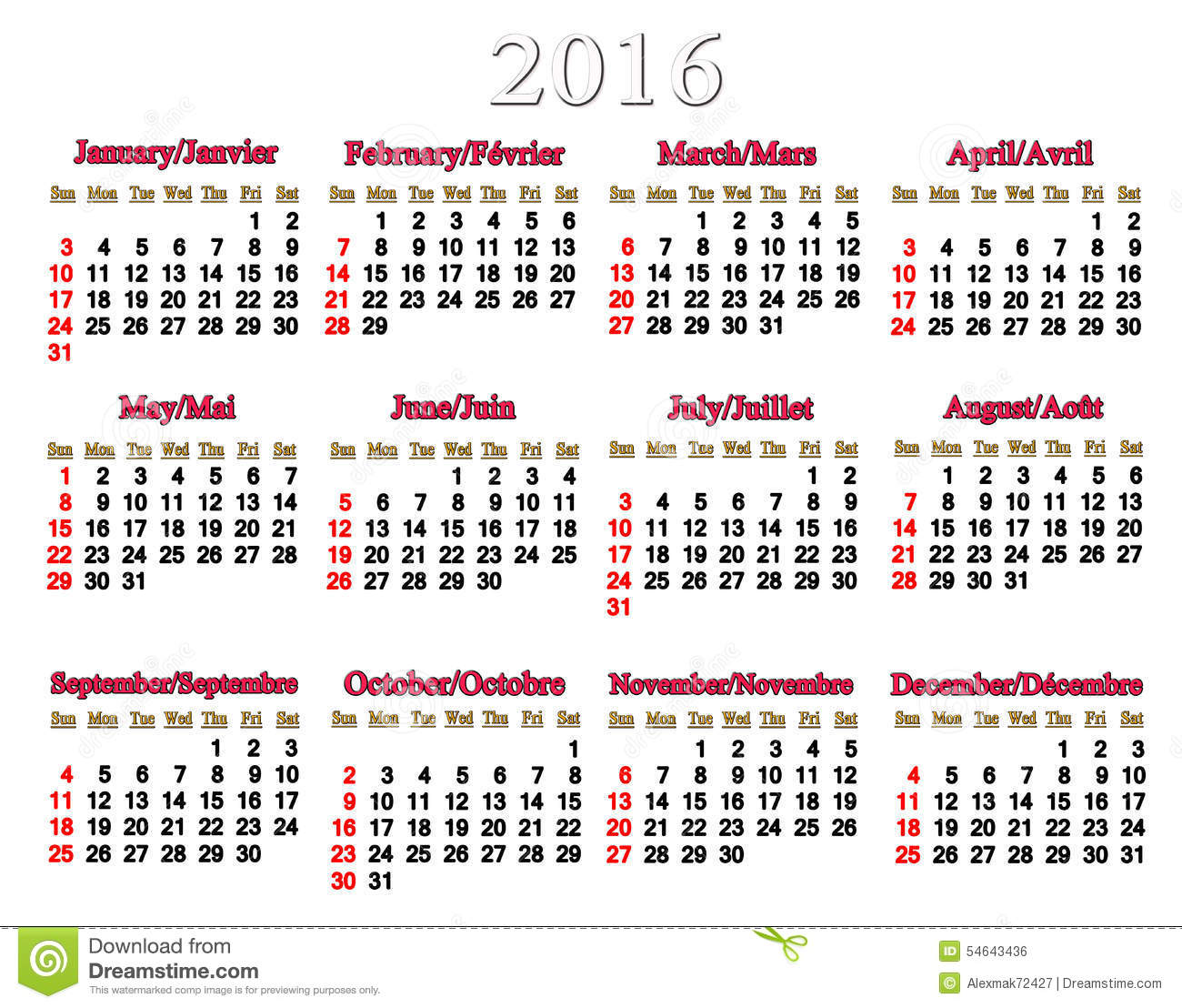 Calendar For 2016 In English And French Stock Illustration - Image ...