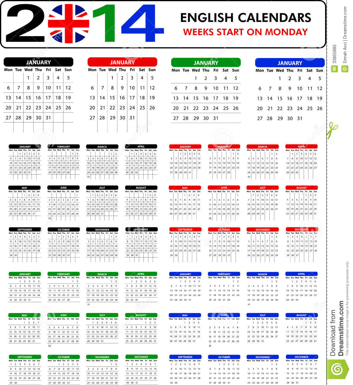 Calendar English : Illustration calendar english pics stock photos all