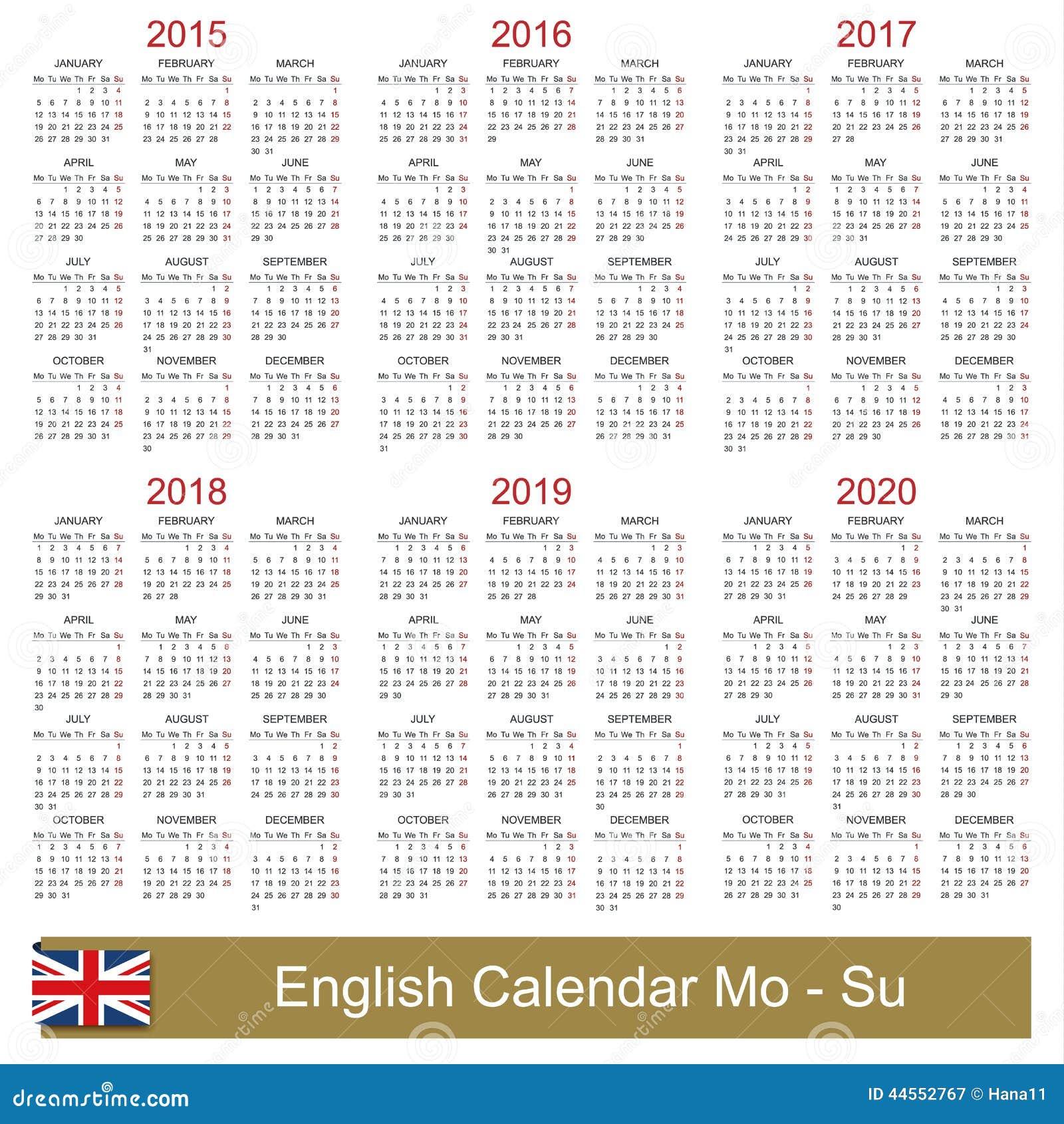 Calendar English : Calendar  stock vector image