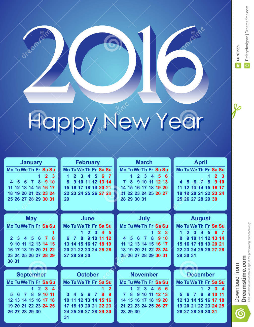 Calendar 2016 european stock vector image of design 60781929 - Happy new year sound europe ...