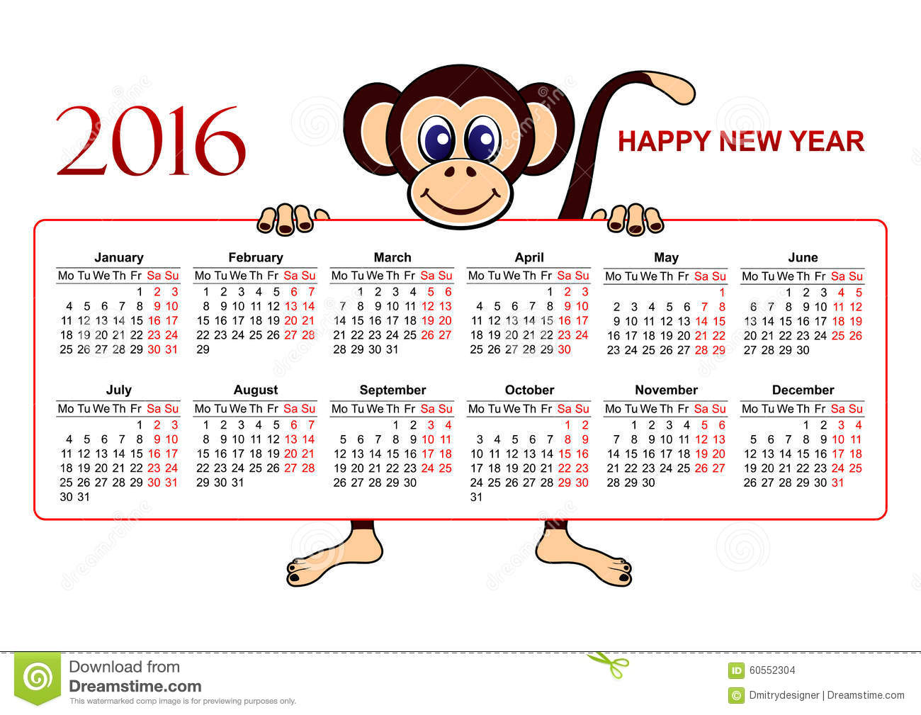 Calendar 2016 european stock vector image of illustration 60552304 - Happy new year sound europe ...
