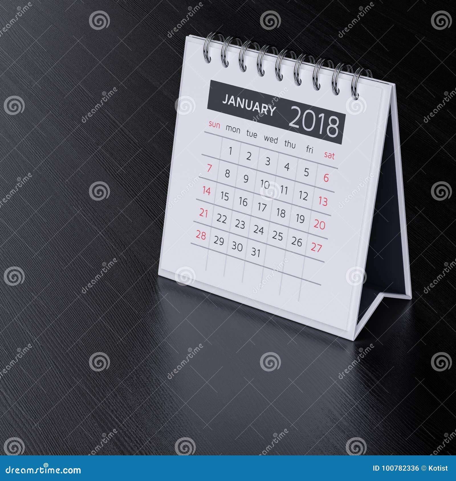 Calendar för Januari 2018