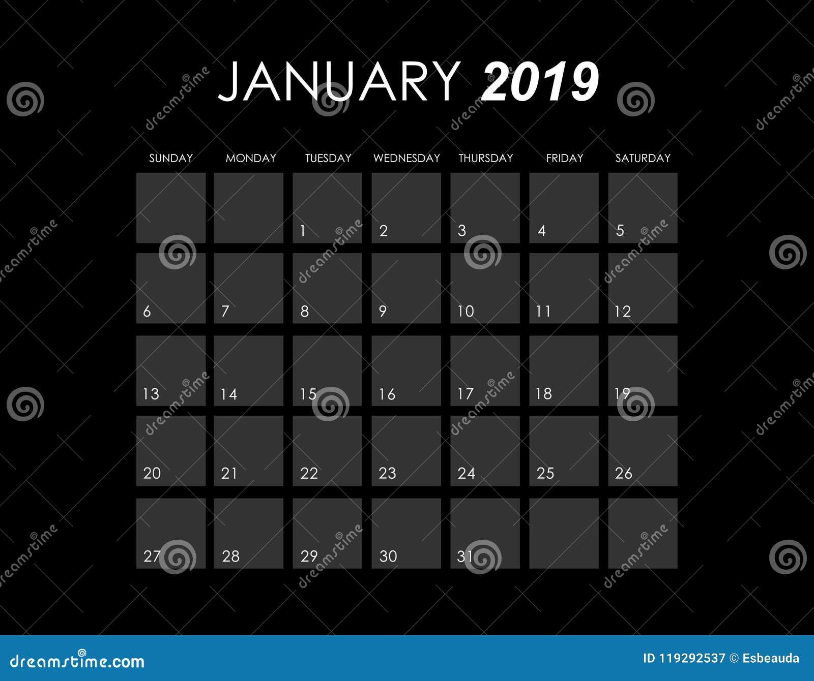 Calendar för Januari 2019