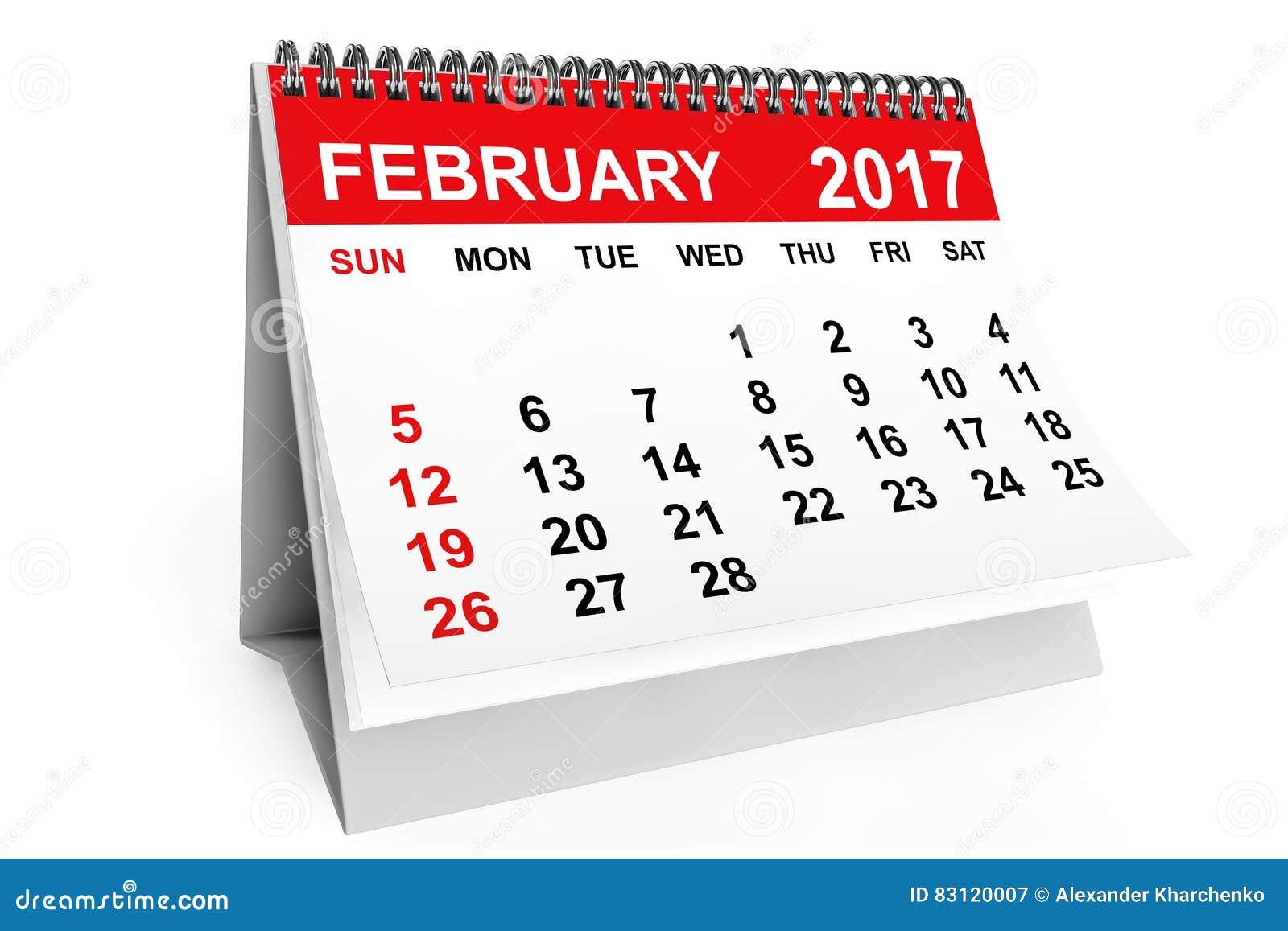 February Calendar Illustration : Calendar february d rendering stock illustration