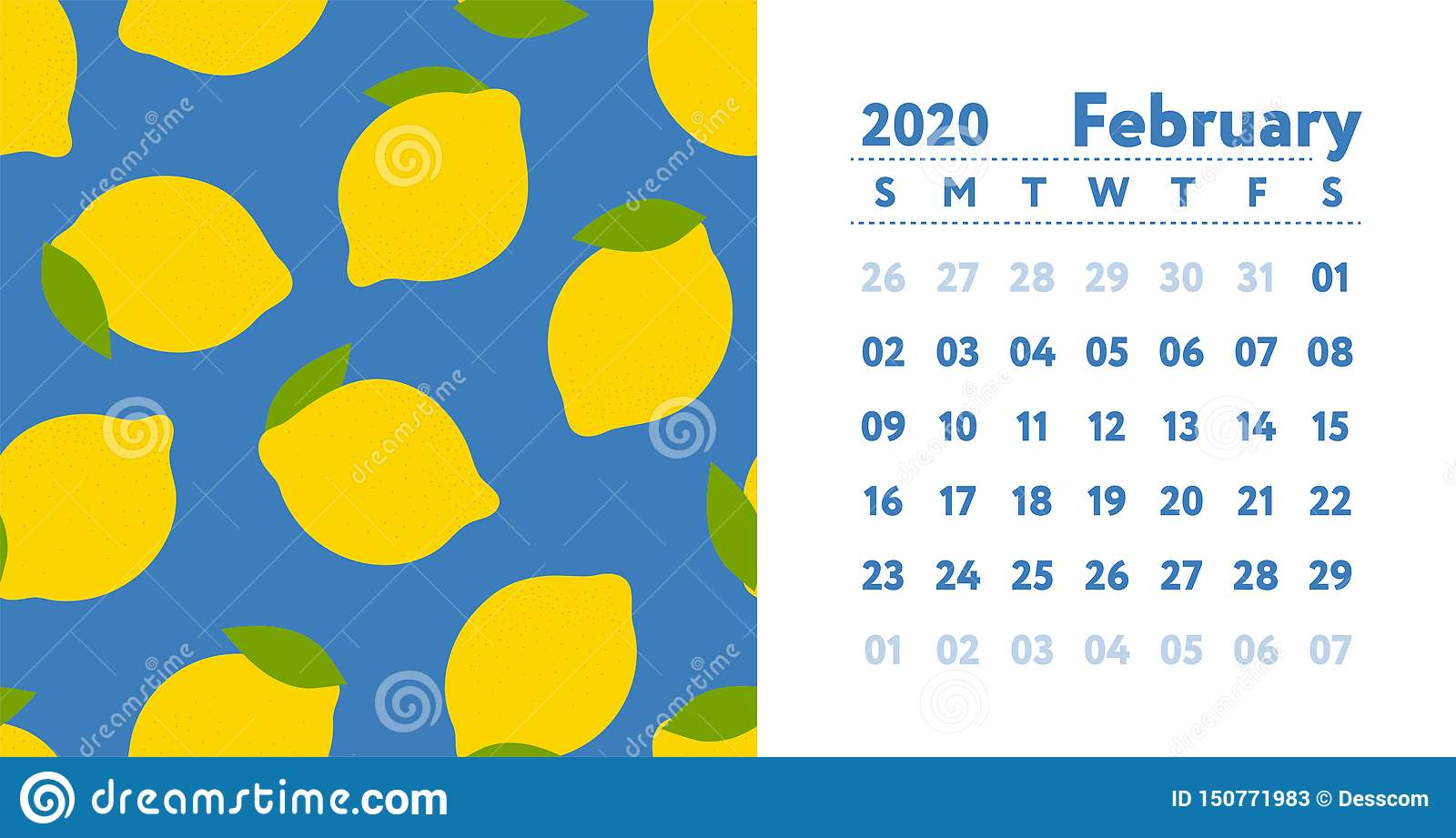 Decorative February 2020 Calendar For Message Boards Calendar 2020. February Month. Vector English Wall Calender. Lemon