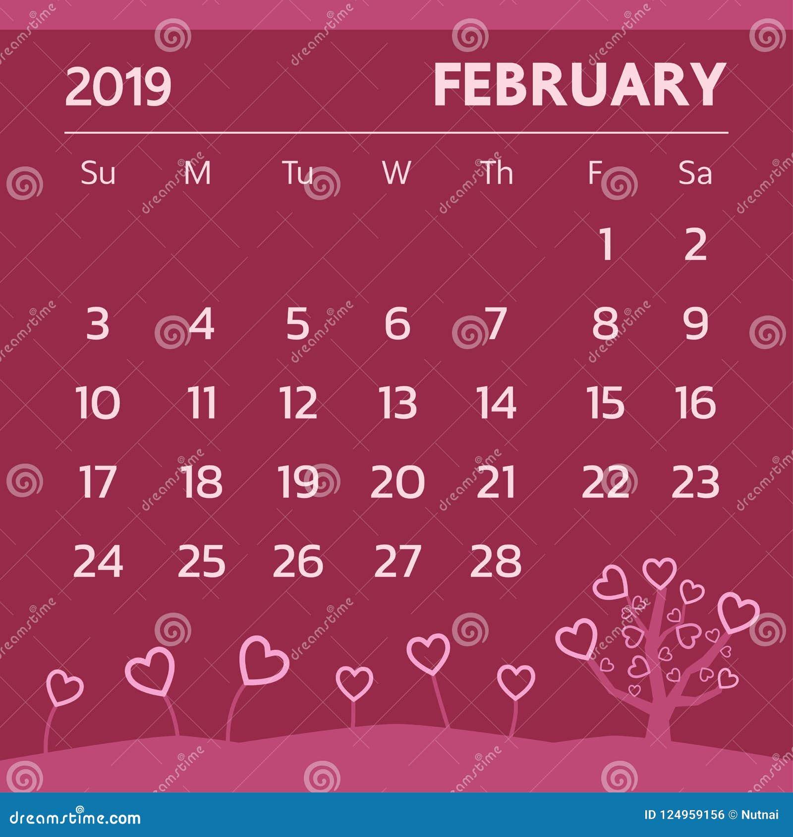 Calendar February 2019 Valentine Calendar For February 2019 With Valentine Theme   Vector Stock