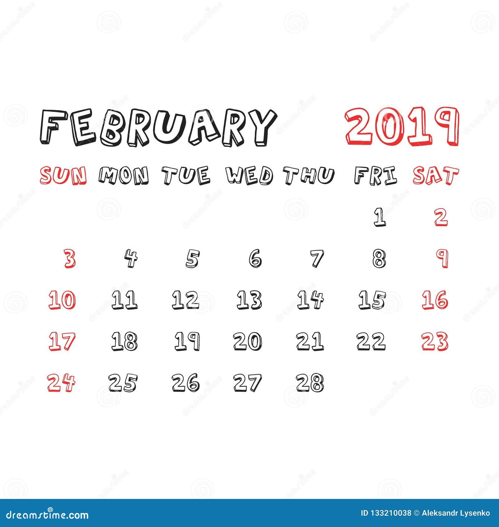 February 2019 Calendar Agenda Calendar February 2019 Year In Cartoon Child Style. Calendar