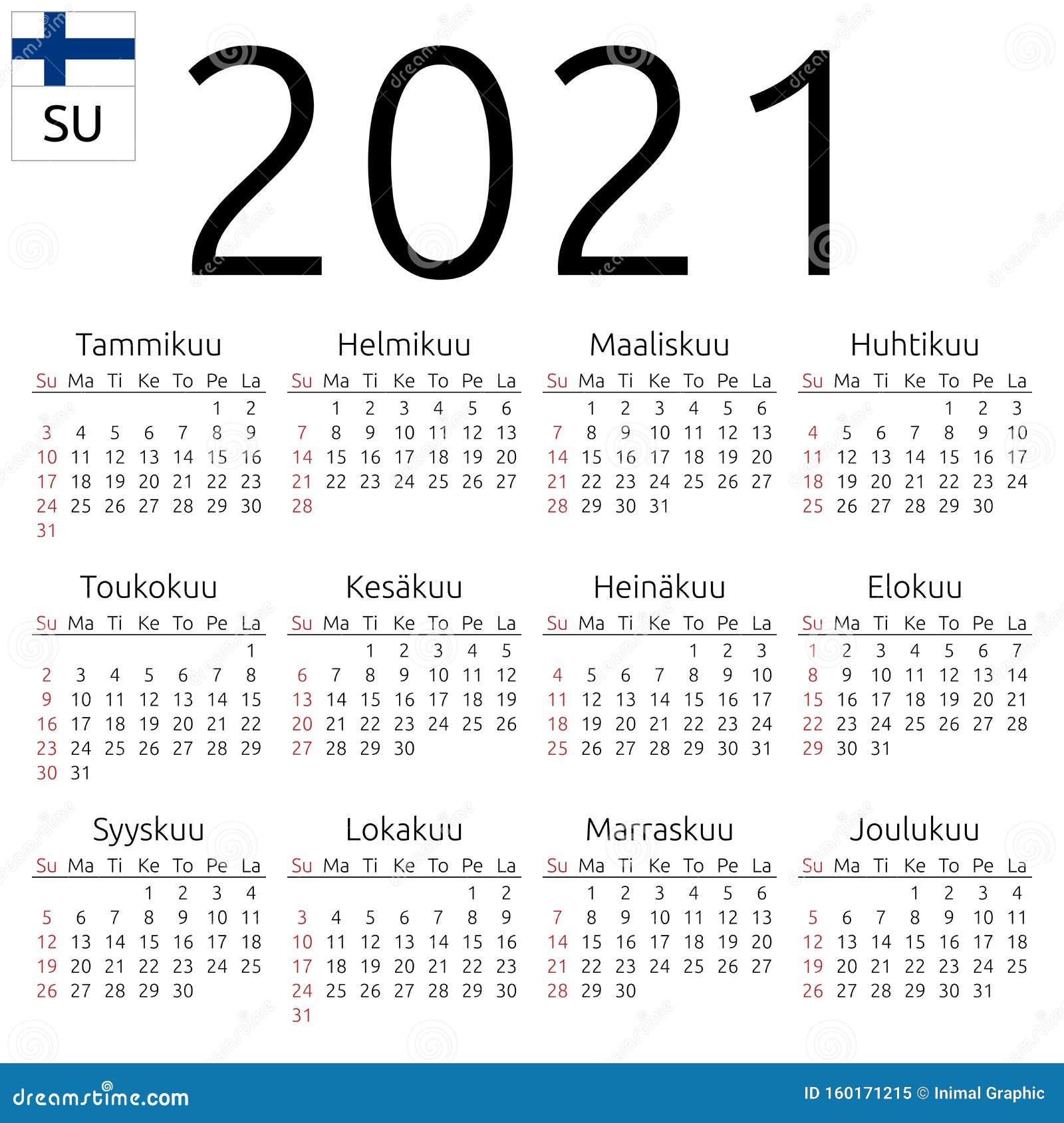 Calendar 2021 Finland