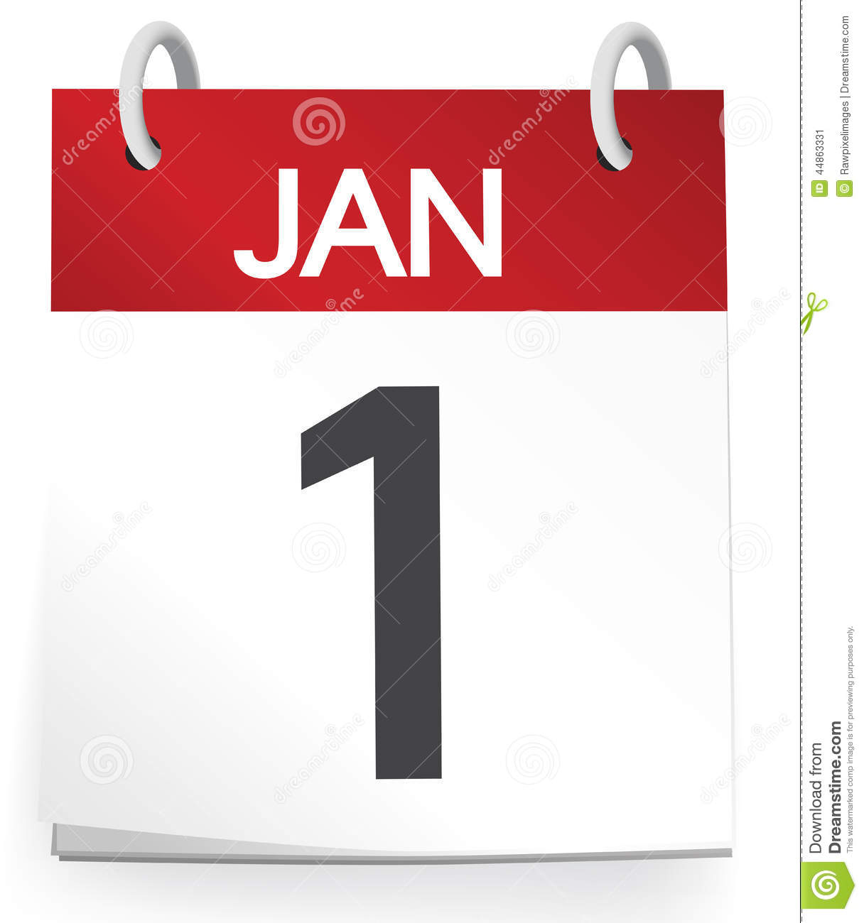 Calendar First Of January Isolated On White Stock Illustration - Image ...