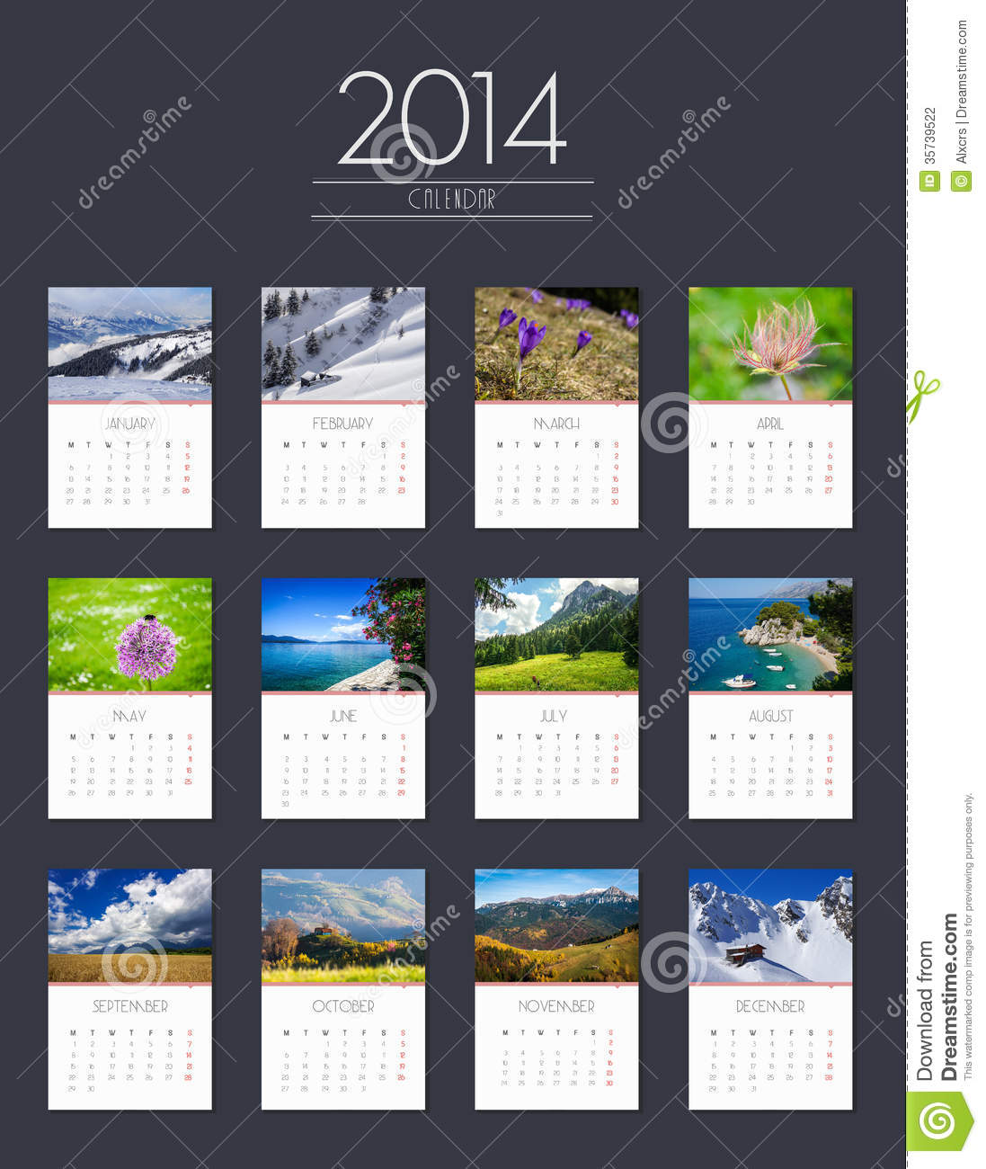Calendar Design In Photo : Calendar flat design stock photography image