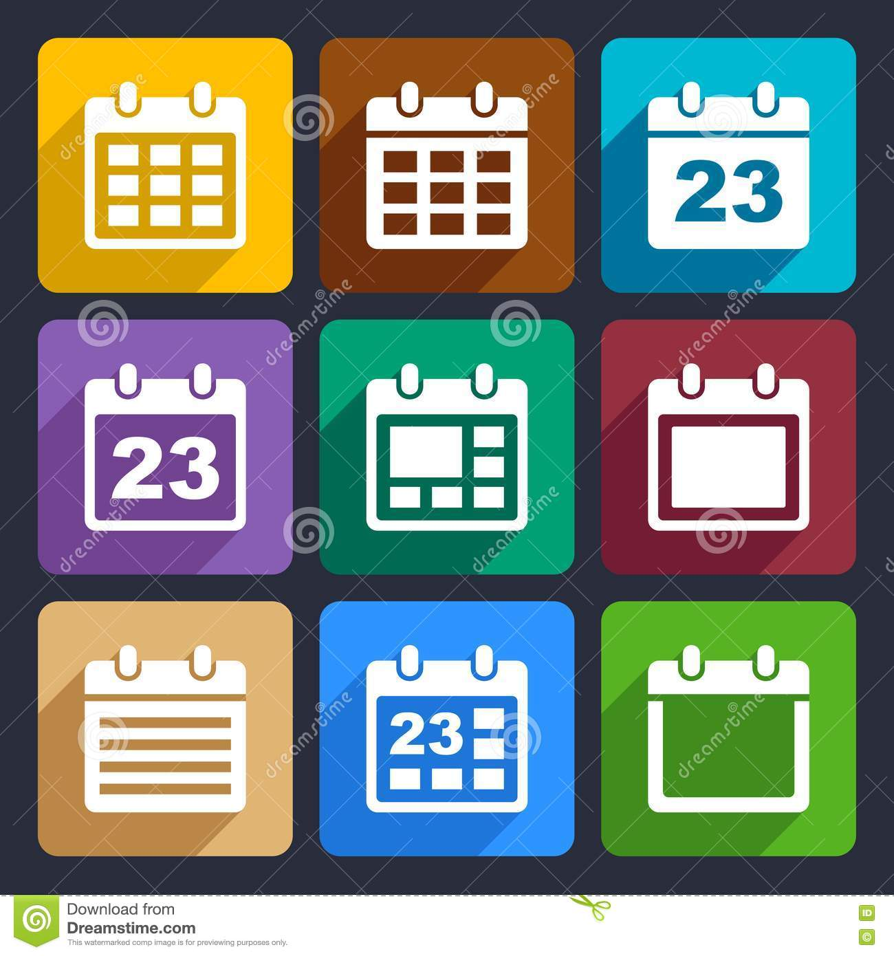 Calendar Web Icon : Calendar flat icons set stock photos image