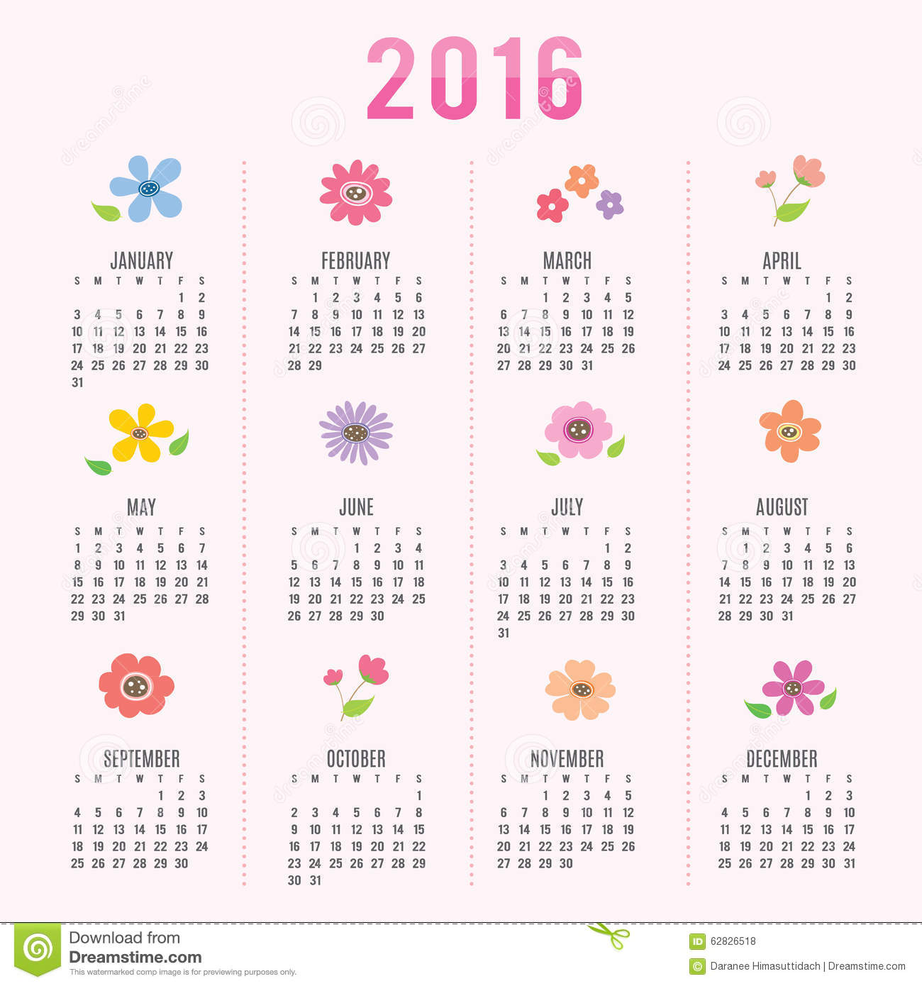 Calendar 2016 Flower Cute Cartoon Vector Stock Vector