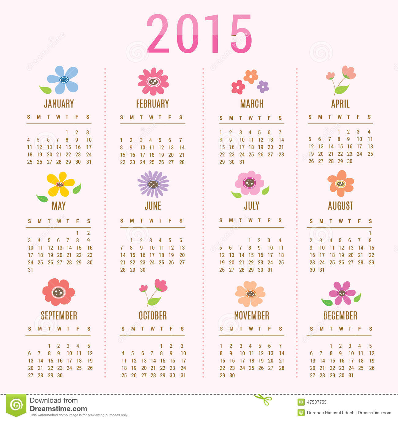 Calendar 2015 Flower Cute Cartoon Vector Stock Vector