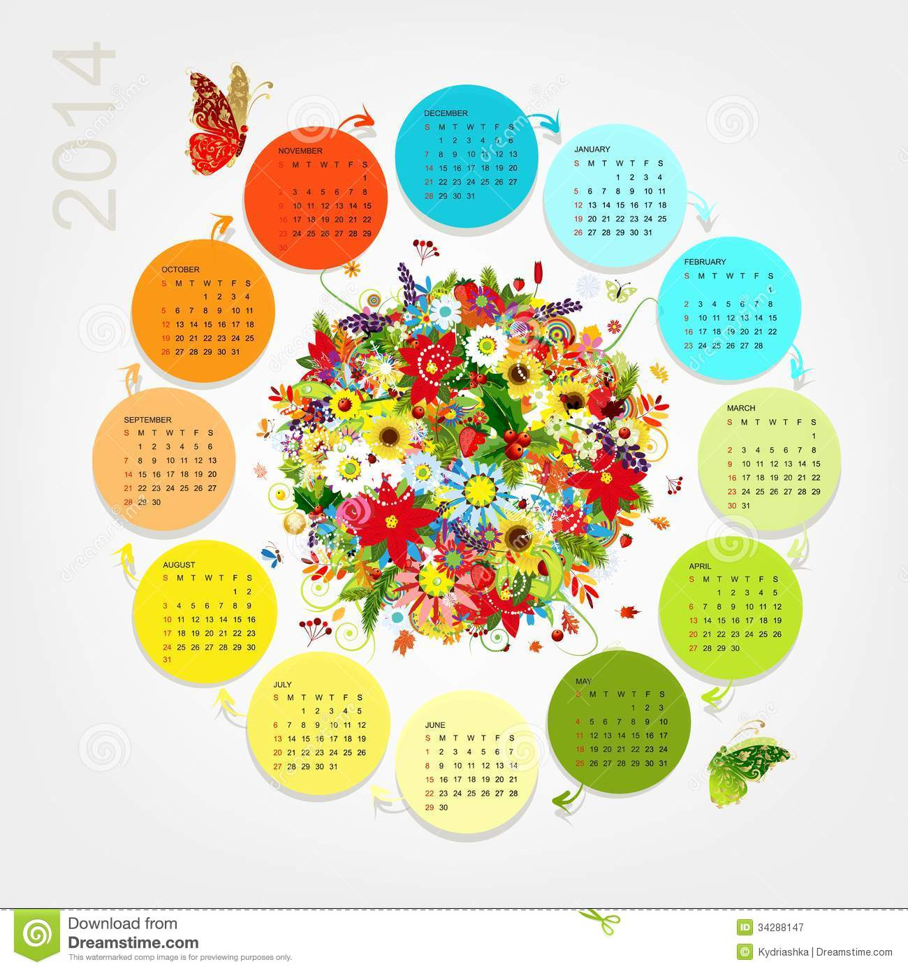 August 2014 Cpo Offers Table Jpg: Calendar 2014 With Four Season Bouquet For Your Stock