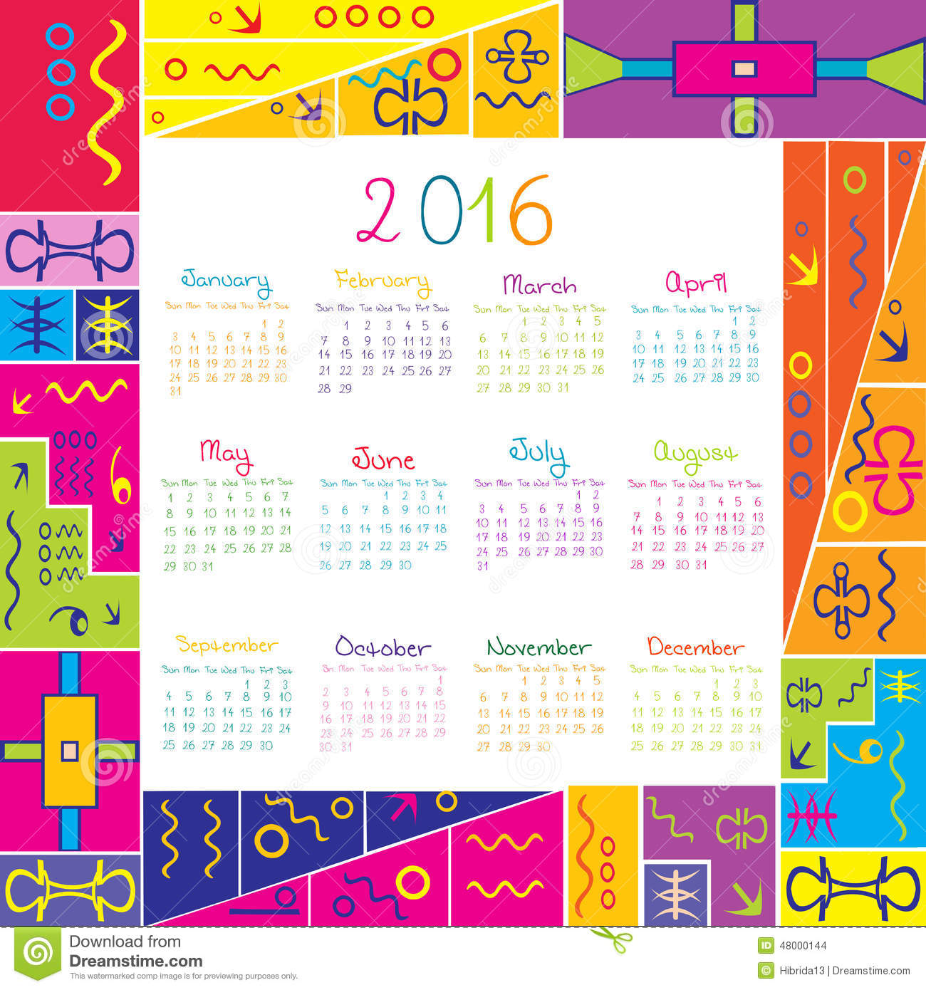 2016 calendar with frame for kids stock vector image 48000144