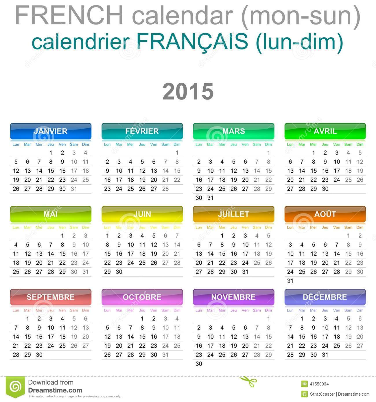 Colorful Monday to Sunday 2015 Calendar French Language Version ...