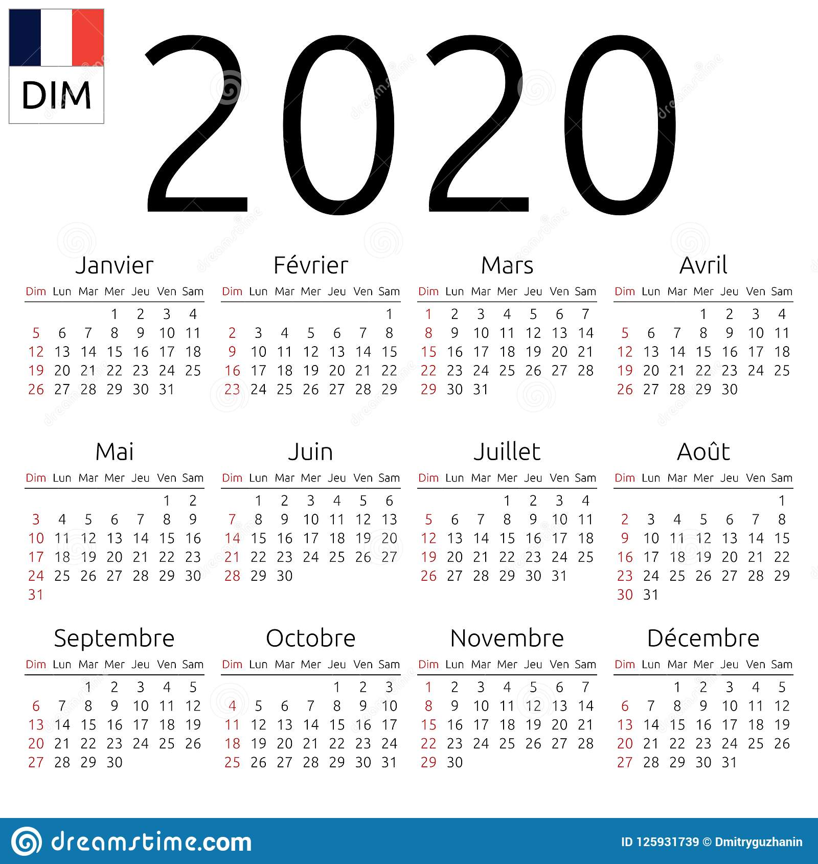 Calendario 2020 2020.Calendar 2020 French Sunday Stock Vector Illustration Of