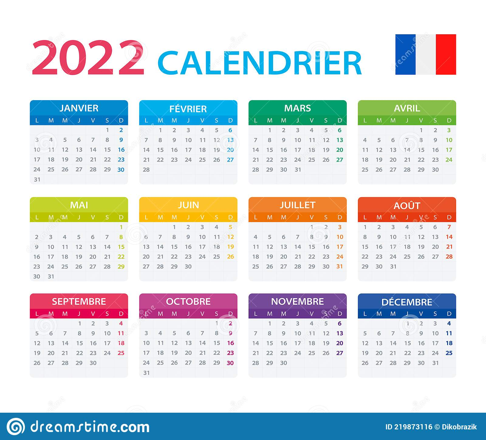 Calendrier Trial 4×4 2022 2022 Calendar French   Vector Illustration, French Version
