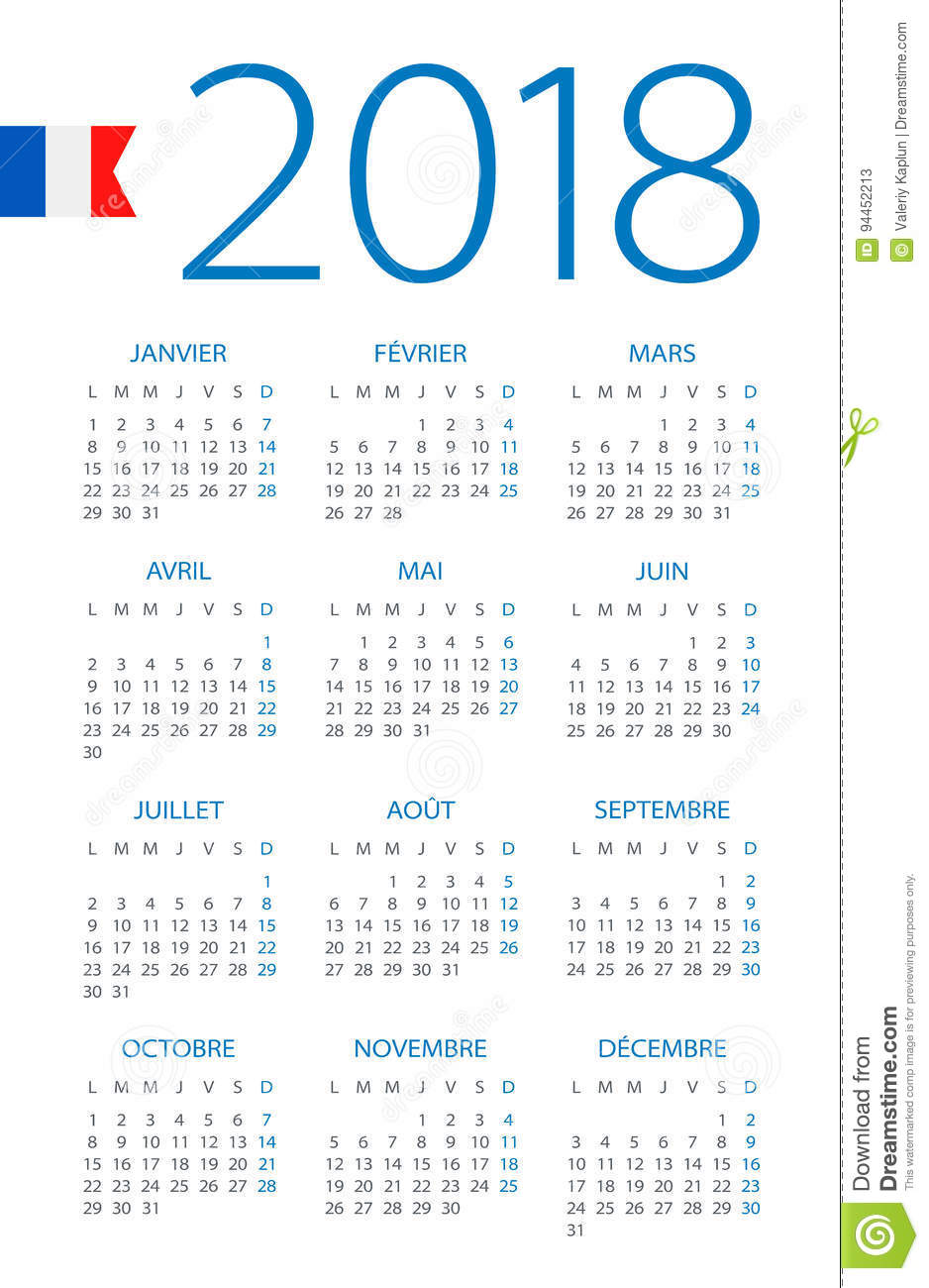 calendar 2018 french version