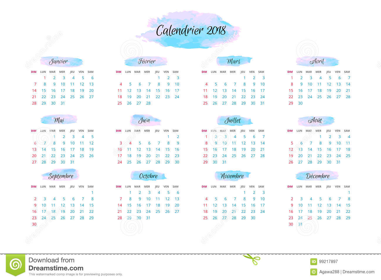 calendar for 2018 in french vector illustration available