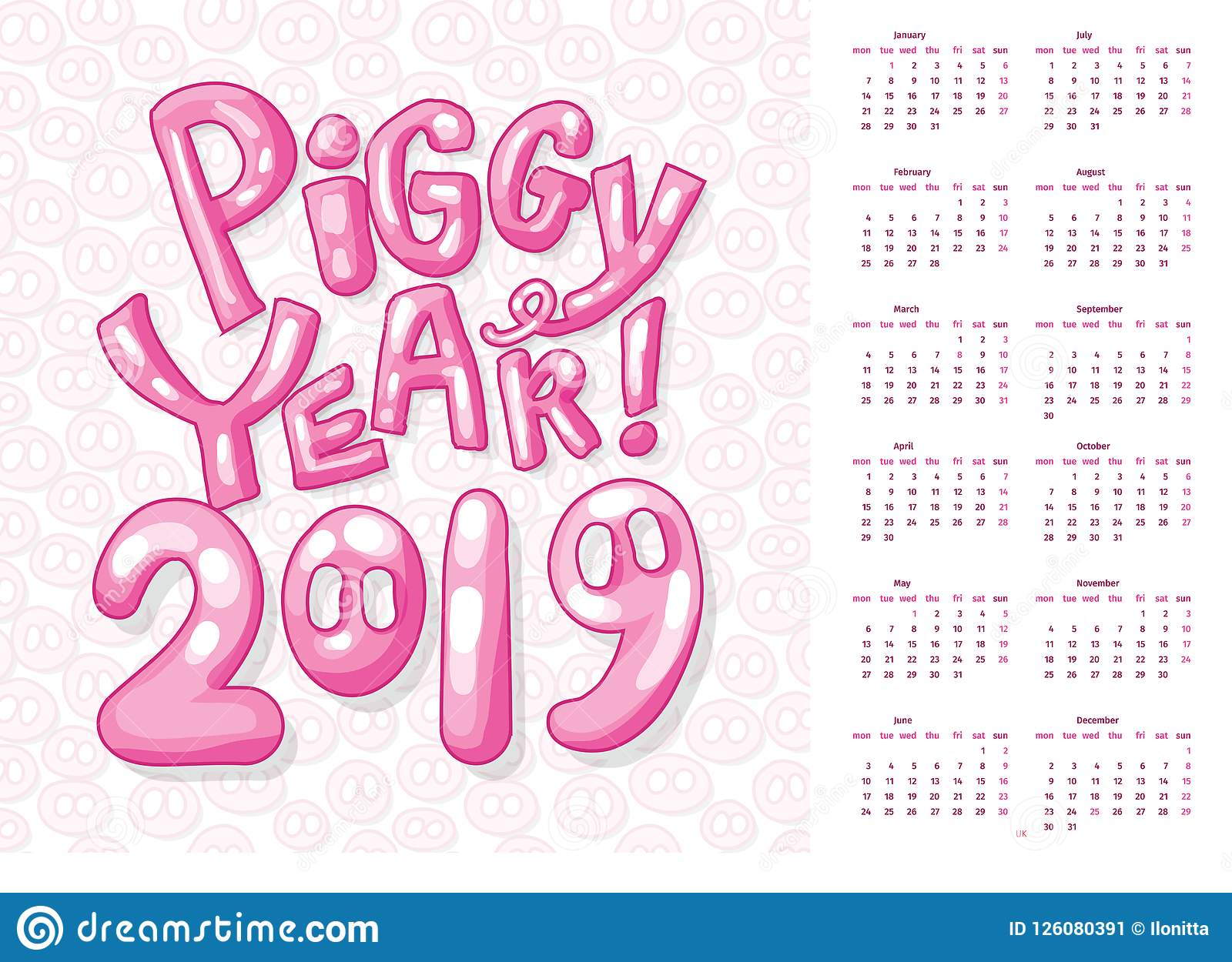 Uk Calendar Cover For 2019 New Year Of Pig Calendar Or Poster Stock ...