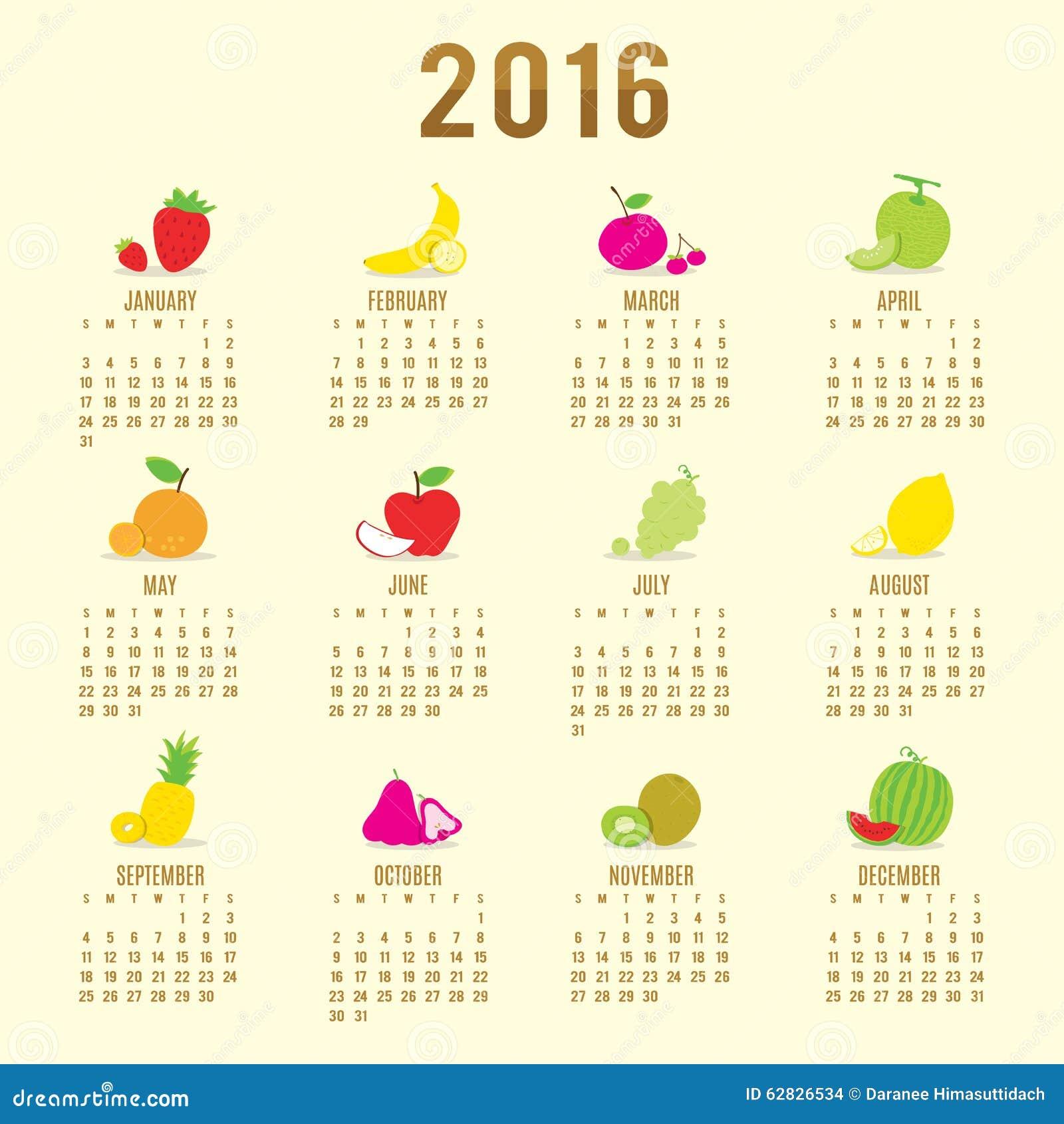 Calendar 2016 Fruit Cute Cartoon Vector Stock Vector ...