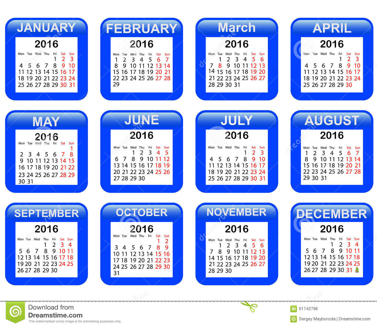Calendar for 2016 stock vector. Image of business, blue ...