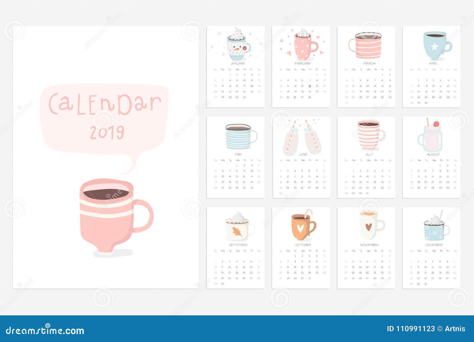 Fun 2019 Calendar Calendar 2019. Fun And Cute Calendar With Cute Hand Drawn Cups