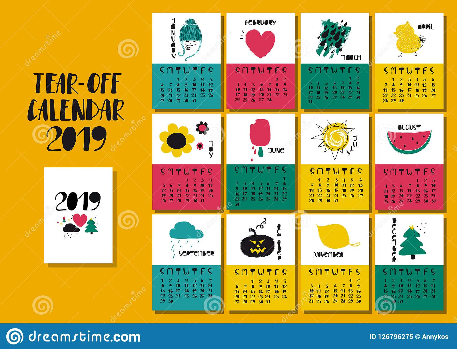 Calendario 2019 Illustrator.Calendar Illustrations Vapha Kaptanband Co