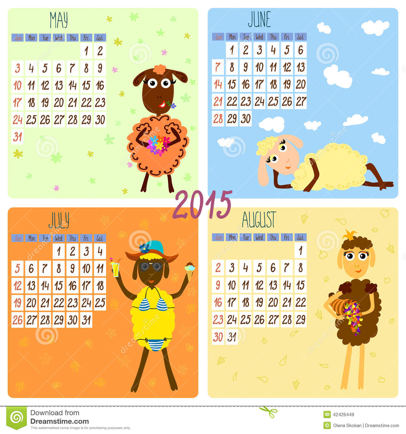 2015 Calendar With Funny Sheep. Summer Stock Vector - Image: 42426449