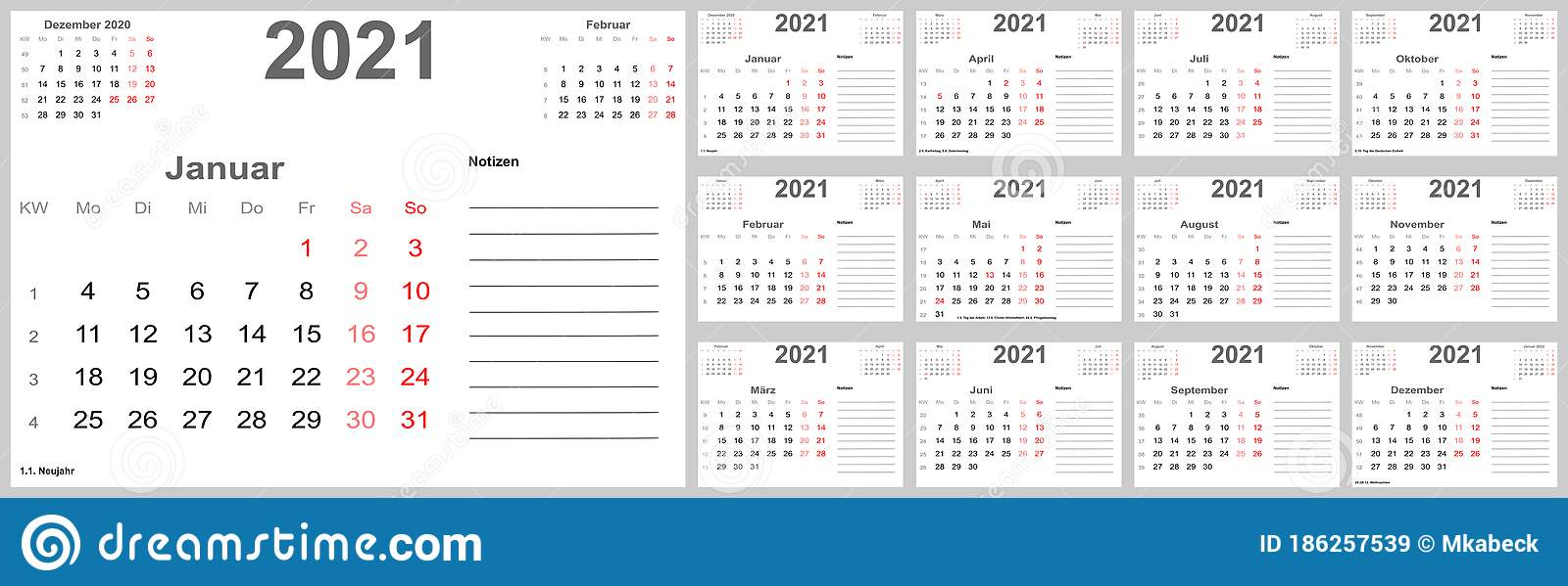 Calendar 2021 For GER With Place For Notes Stock Vector ...