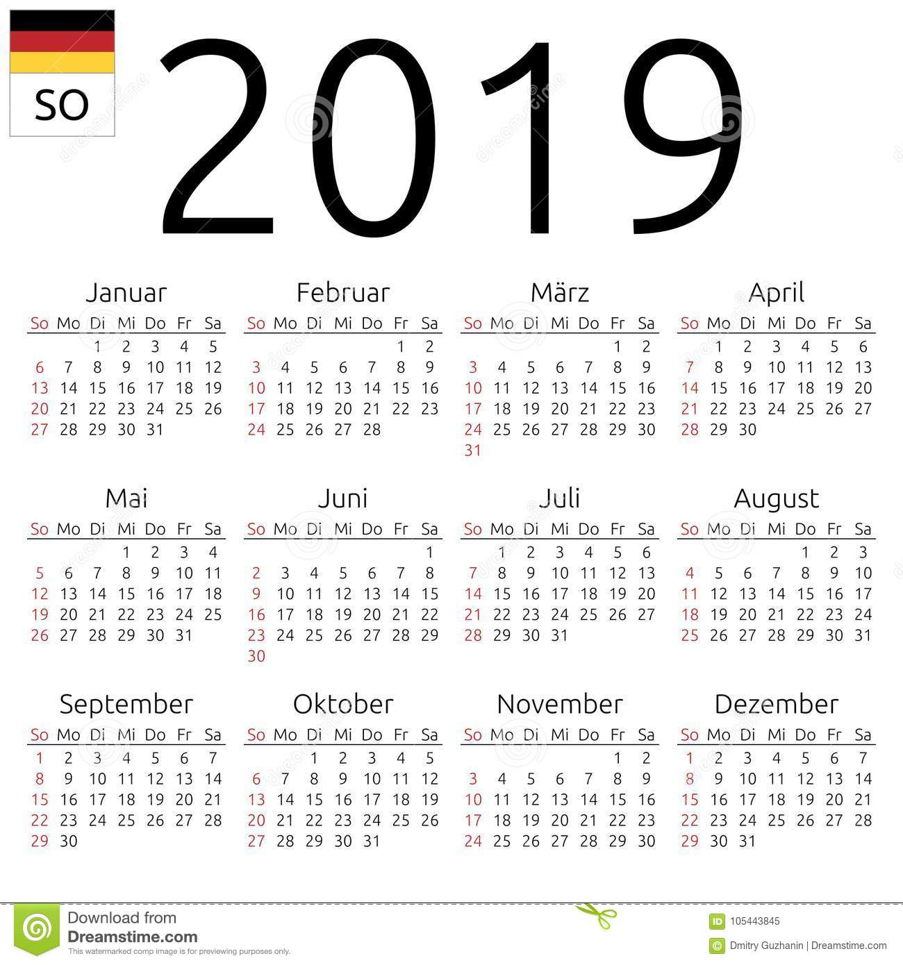 calendar 2019  german  sunday stock vector