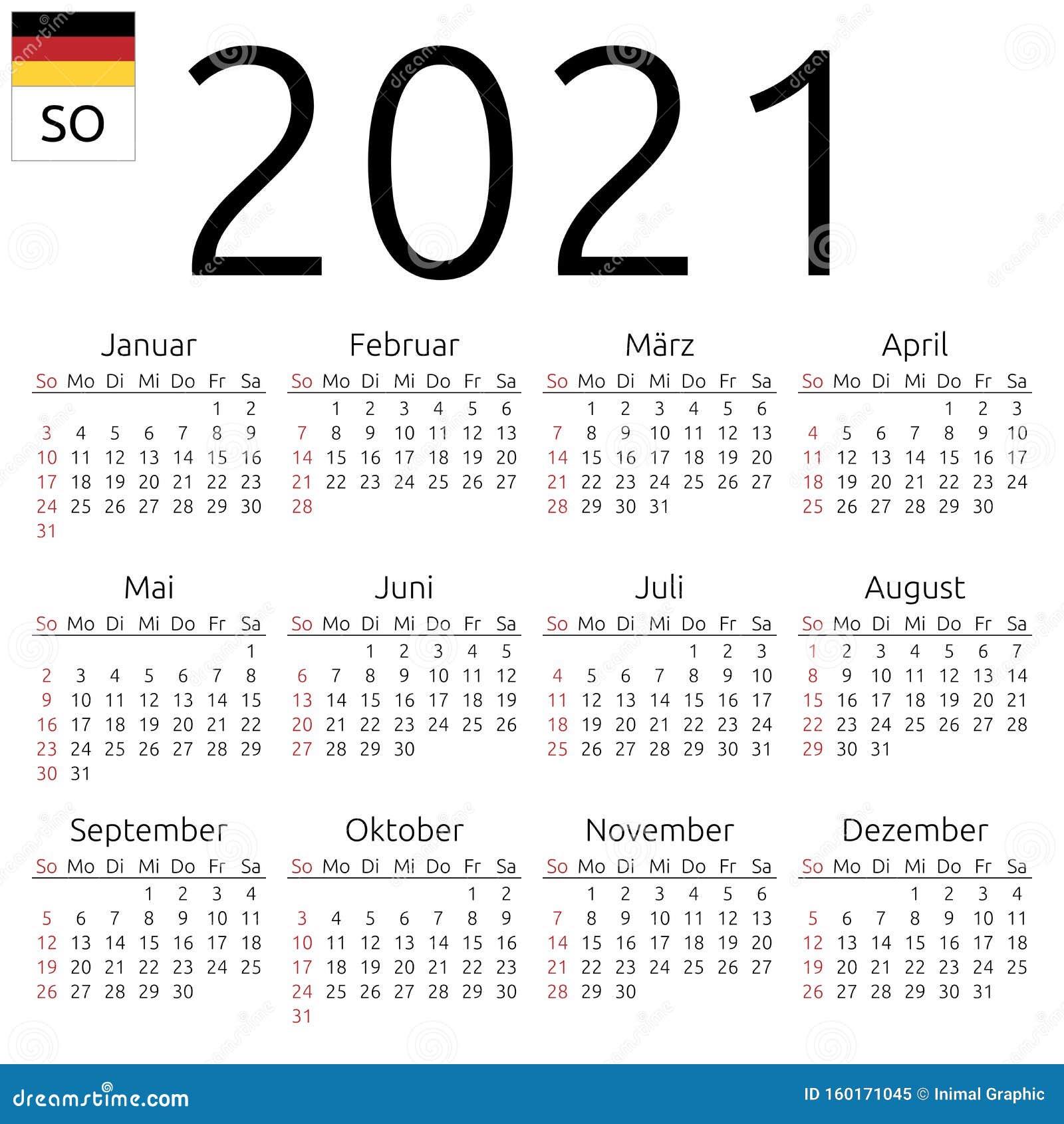Calendar 2021, German, Sunday Stock Vector - Illustration ...
