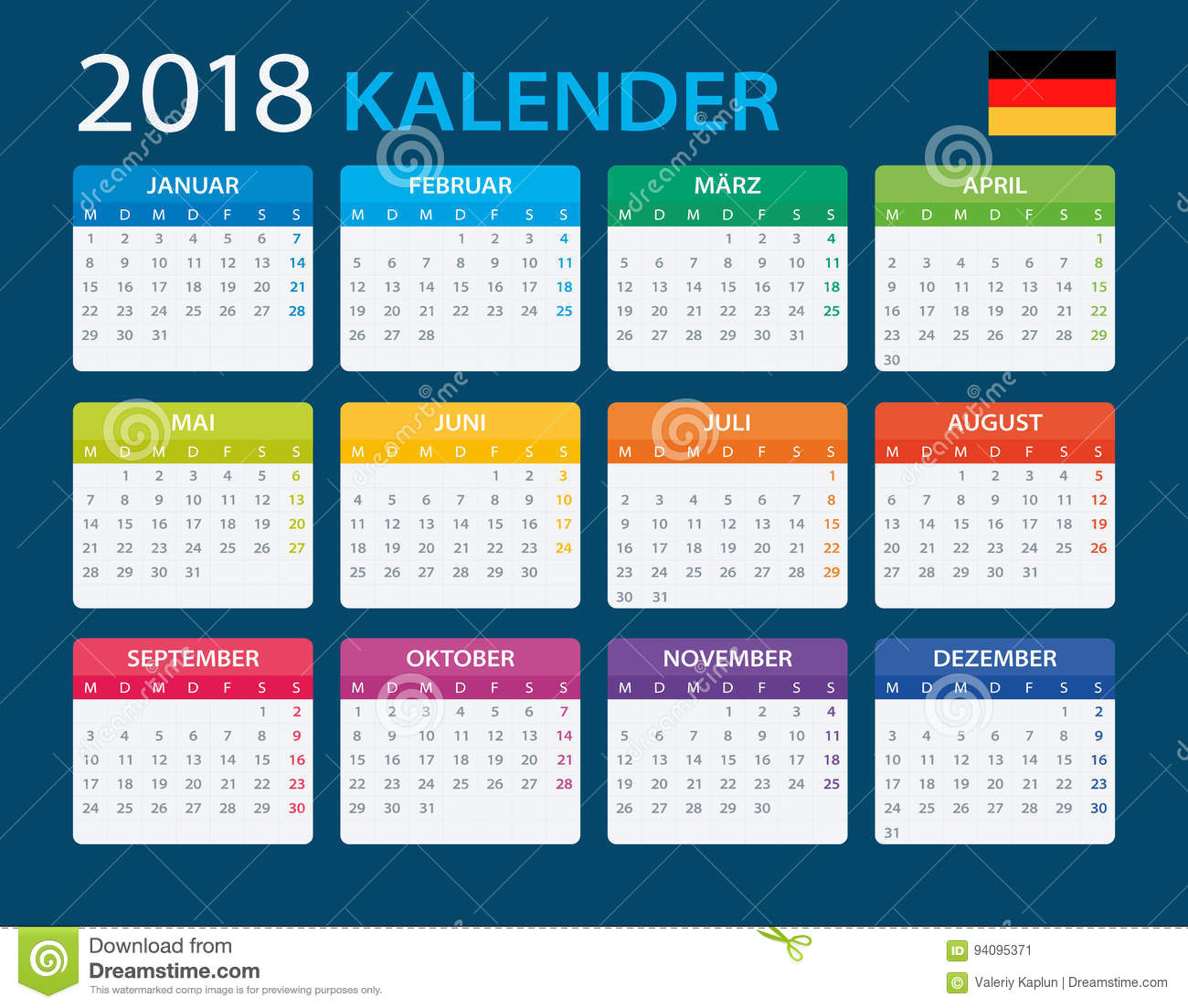 calendar 2018 german version