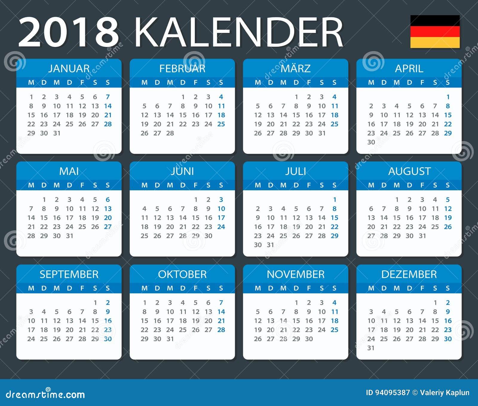 calendar 2018 german version