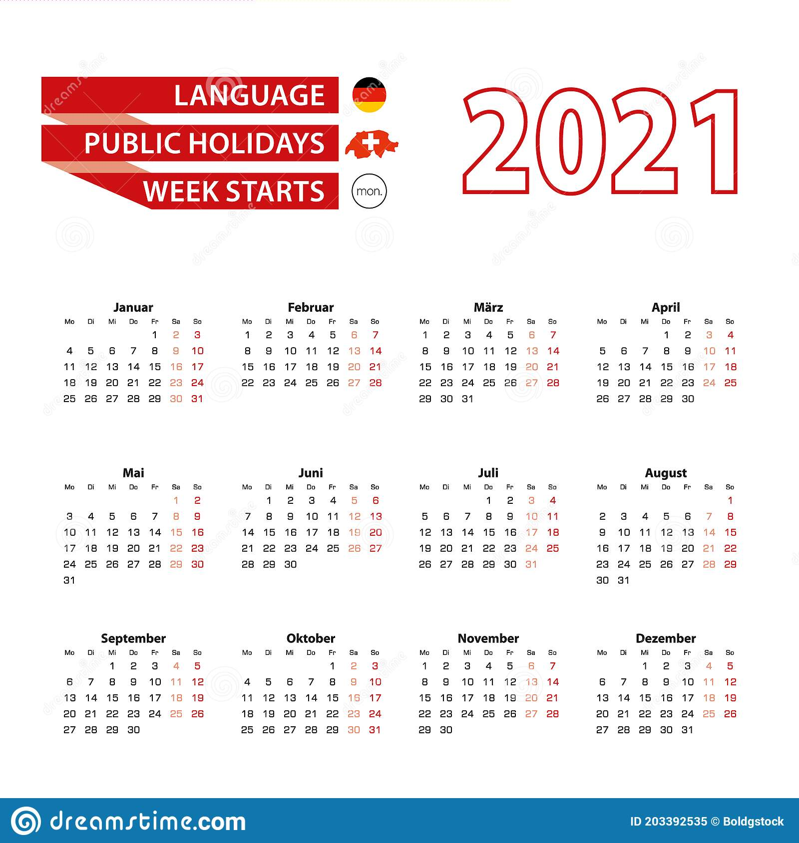 Calendar 2021 In Germany Language With Public Holidays The ...