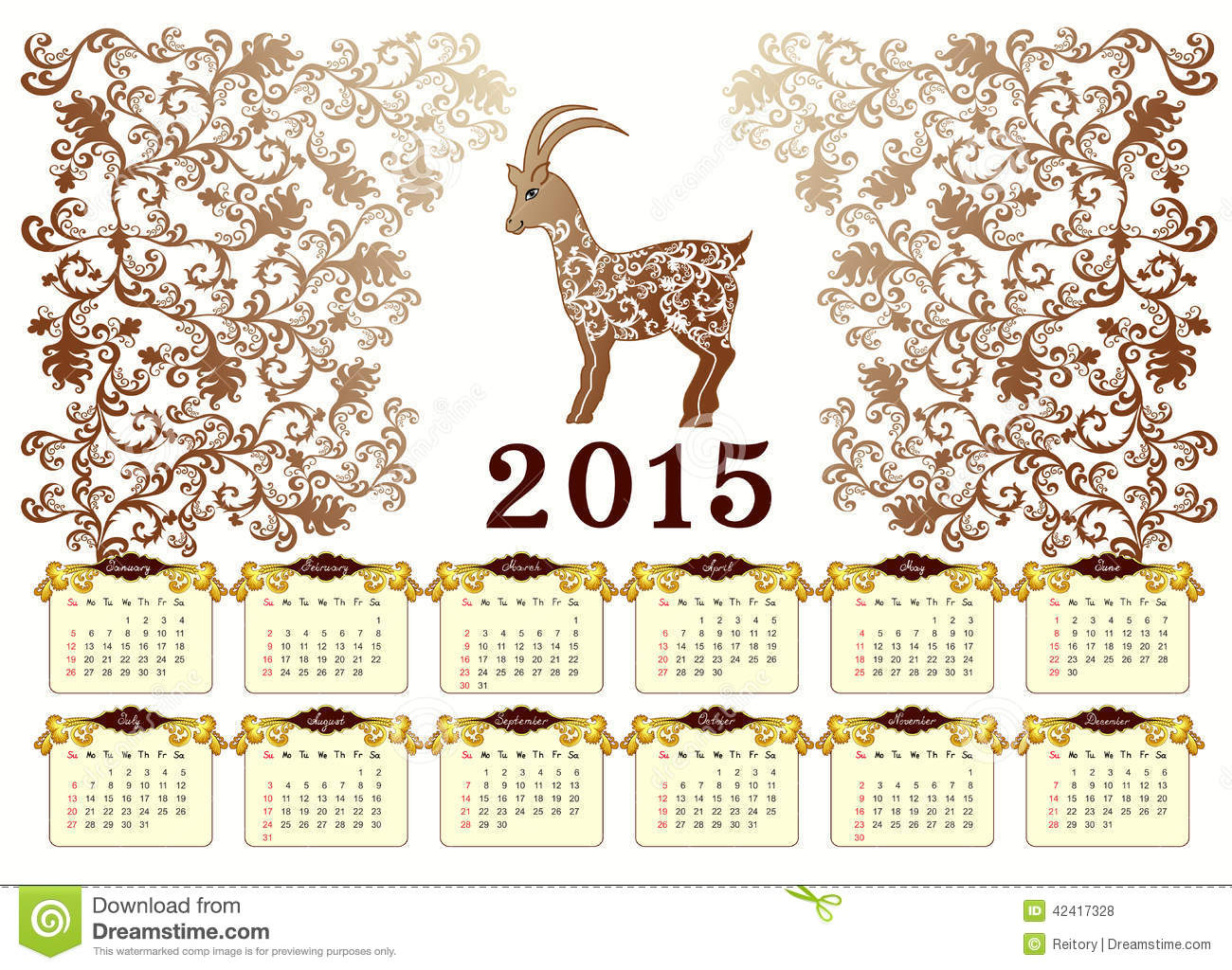 Calendar Vintage 2015 : Calendar for with a goat in vintage style stock