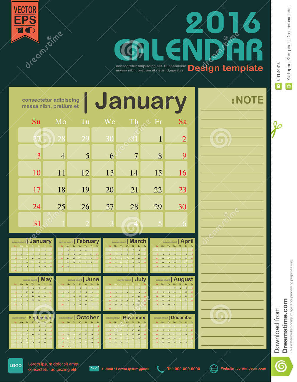 Calendar Background 2016 : Calendar green color tone background design template