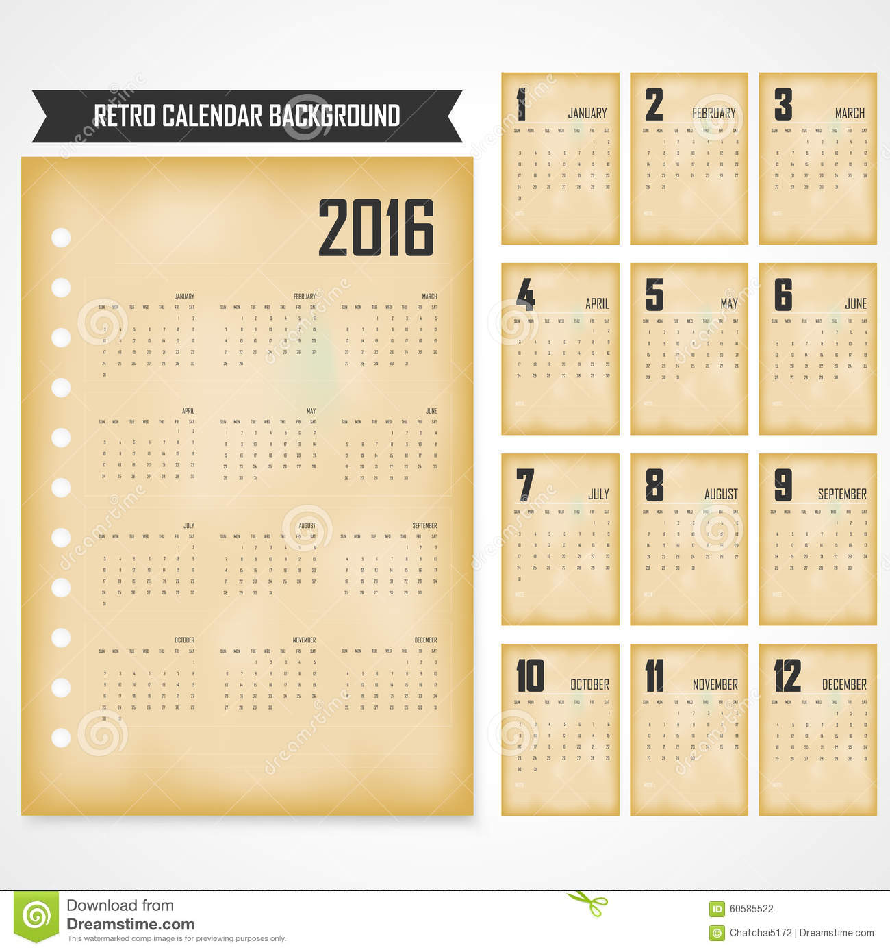 Calendar Vintage Vector : Calendar for on grey background in the