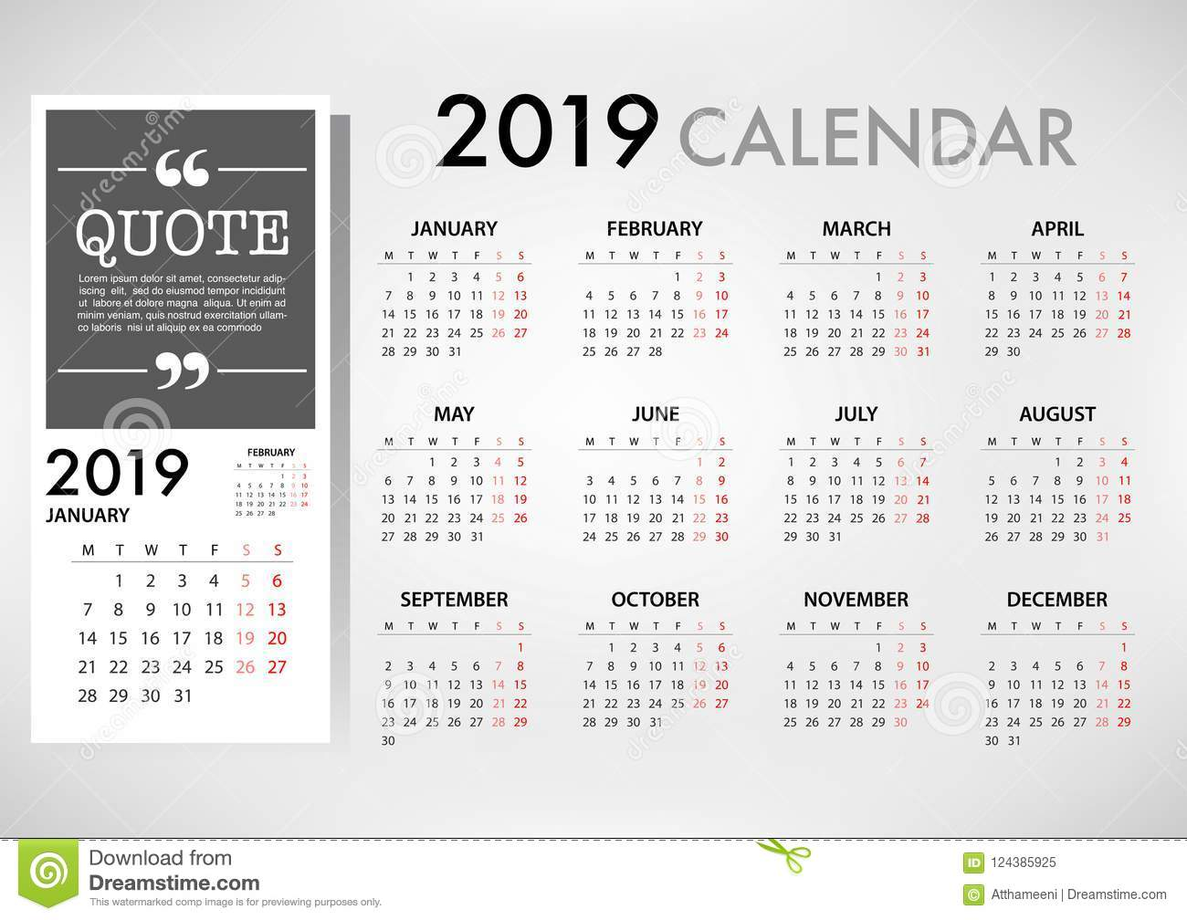 Calendar For 2019 Week Starts Monday Simple Vector Template Stock