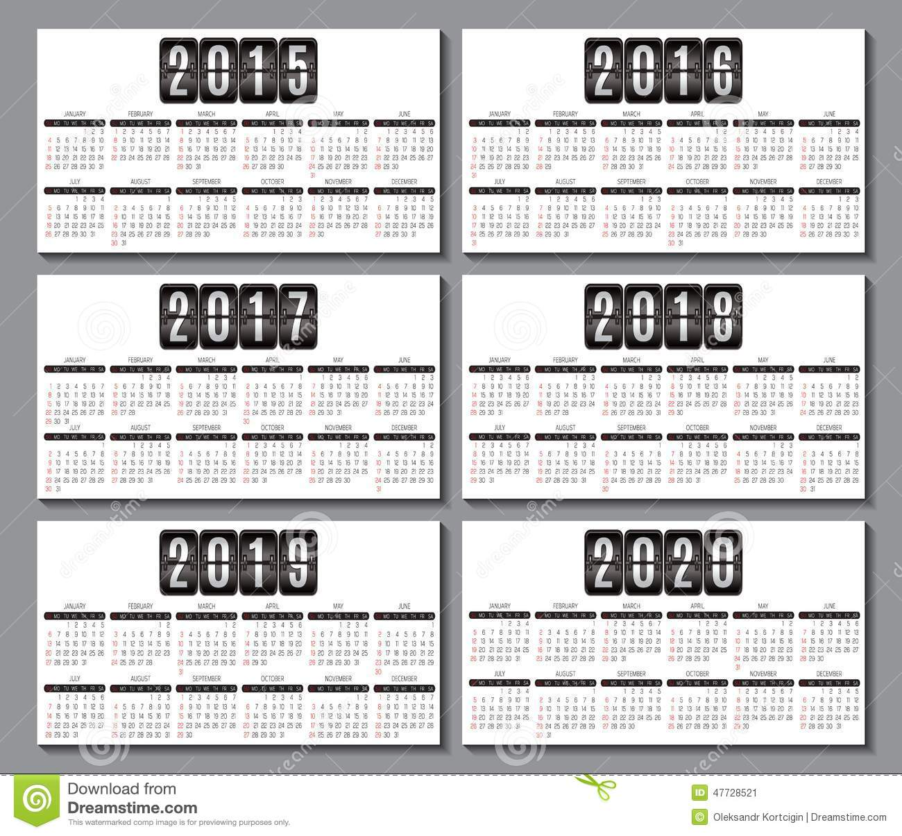 Calendar Template 2016-2020 Calendar Grid 2015, 2016 2020 For Business Card Stock Vector
