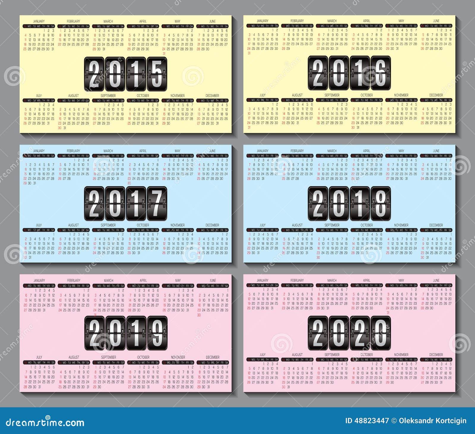 Calendar Grid 2015 2016 2020 For Business Card Stock Vector