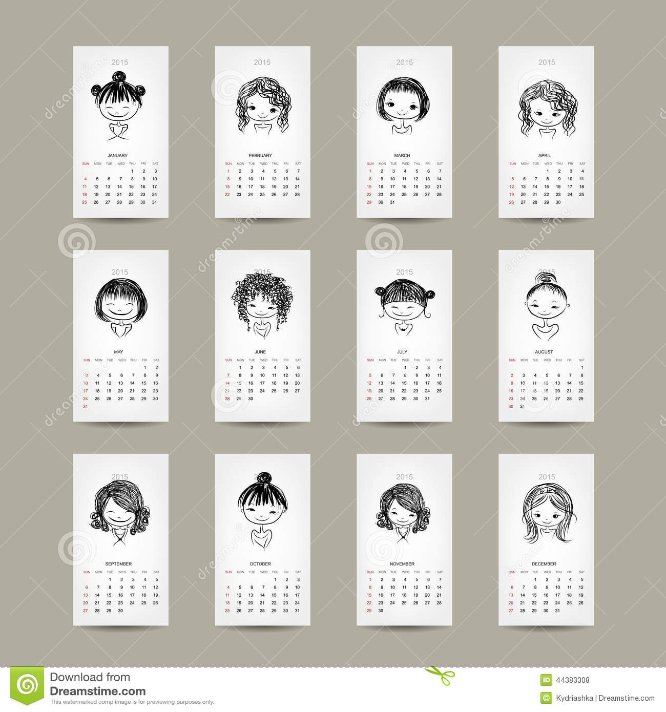 Illustration Calendar Design : Calendar grid cute girls design stock vector image