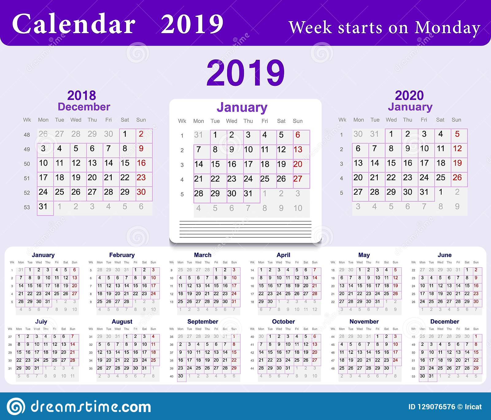 Calendar With Week Numbers 2020.Calendar Grid For 2019 In English Language Wall Template In Blue