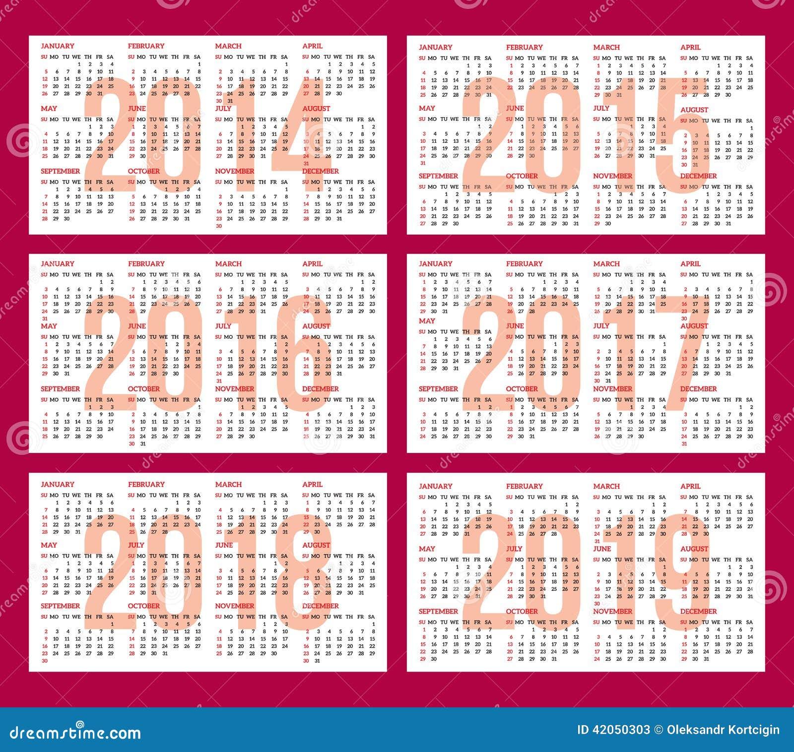 calendar grid for 2014 2015 2016 2017 2018 2019 stock vector