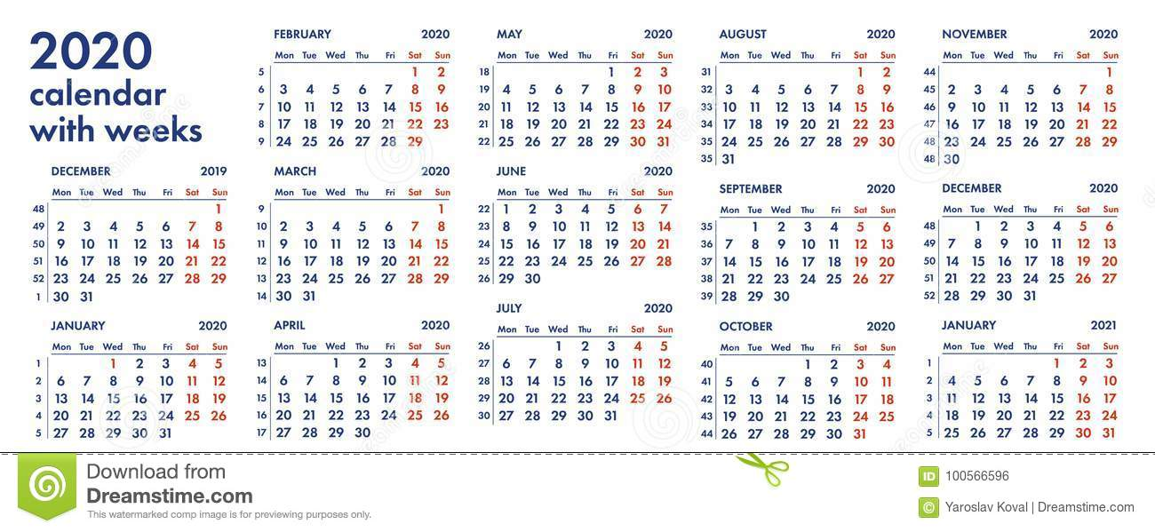 2020 Calendar By Weeks 2020 Calendar Grid With Weeks Illustration Stock Illustration
