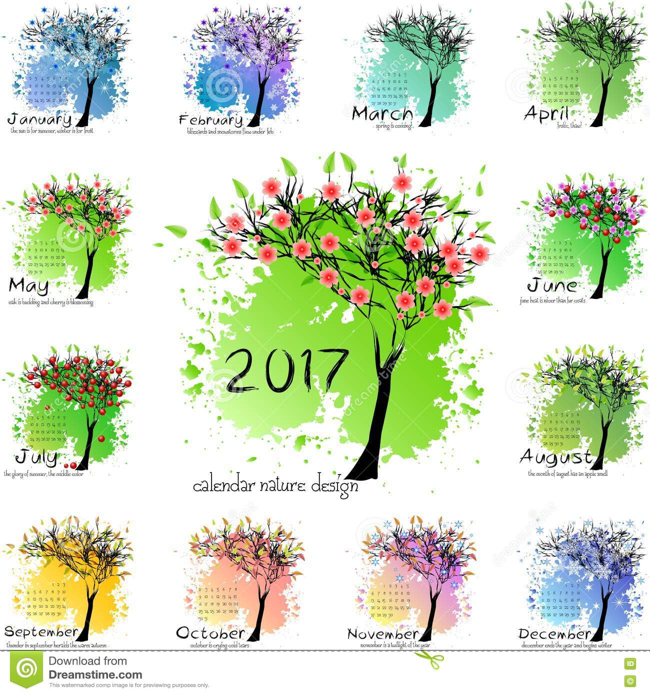 Year Calendar Seasons : Calendar grid for year with abstract tree stock