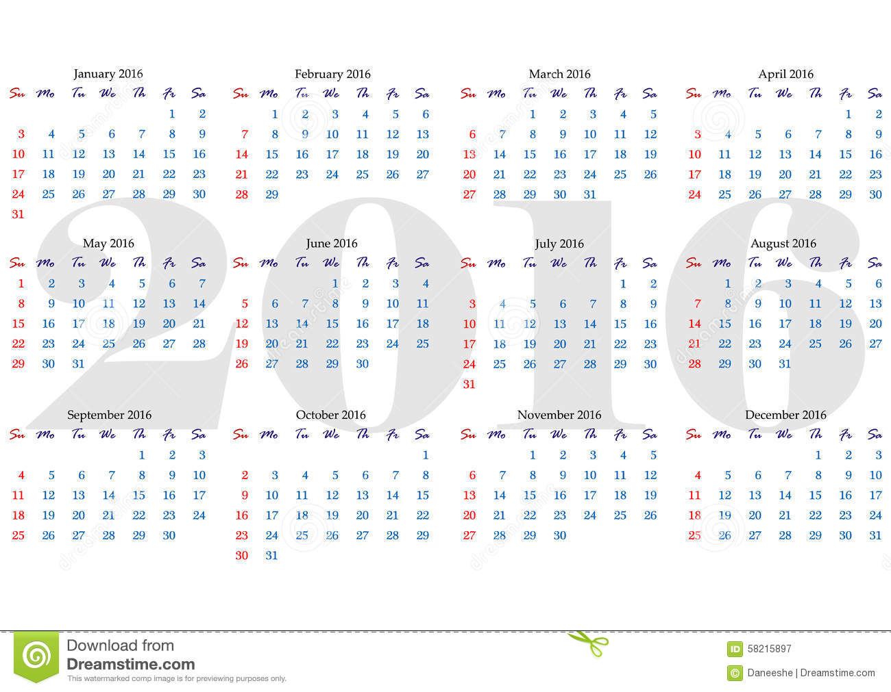 Horizontal Calendar Design : Calendar grid for year with marked weekend days stock
