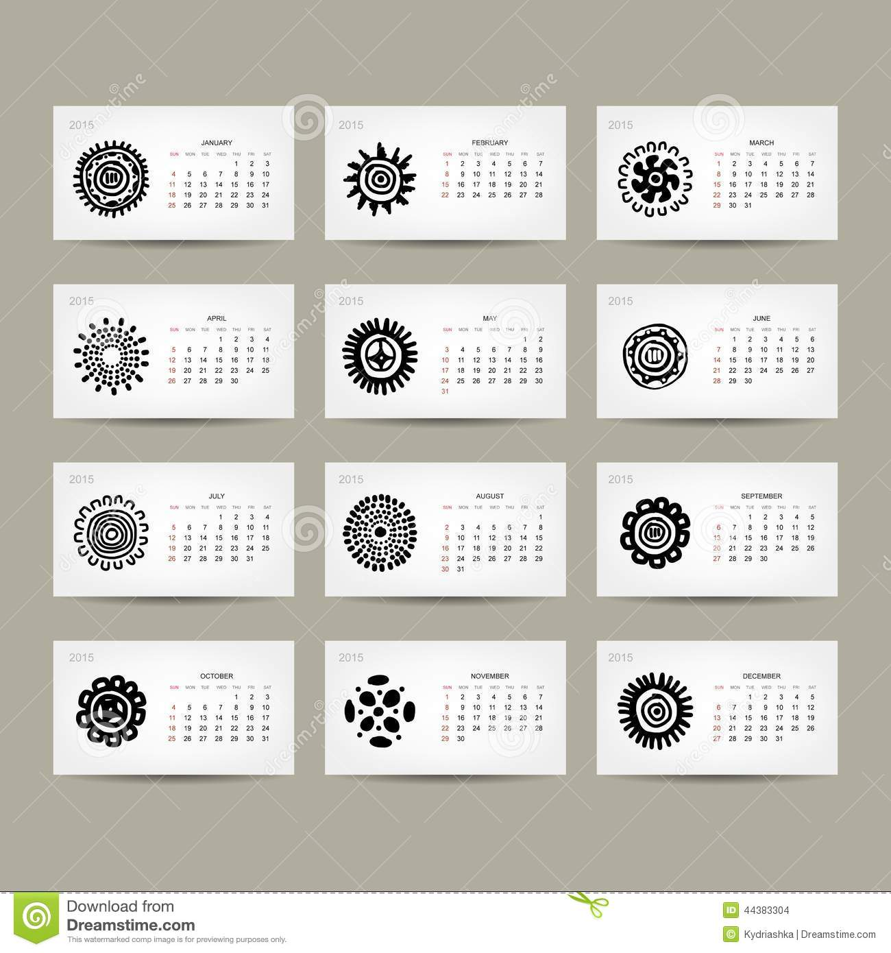 Illustration Calendar Design : Calendar grid for your design ethnic stock vector