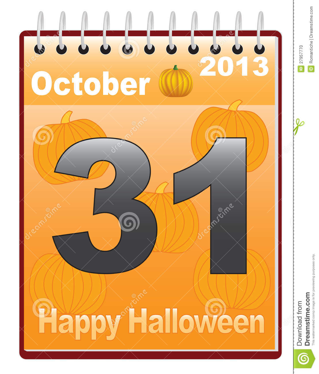 download calendar with halloween date stock vector illustration of orange vector 27957770